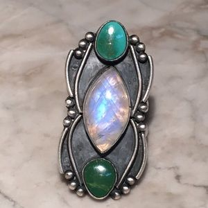 Jewelry - Sterling Turquoise And Moonstone Ring